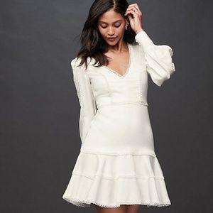 BARDOT Crochet V-Neck Mini Dress with Flounce Hem